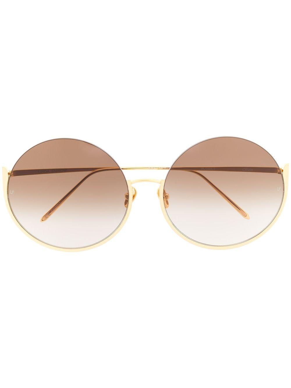 Linda Farrow Runde Oversized-Sonnenbrille - Gold