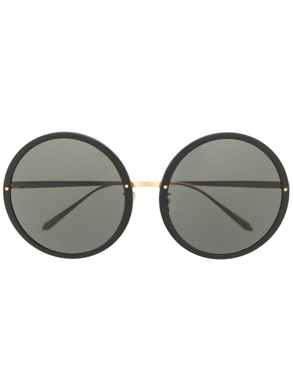 Linda Farrow Runde Oversized-Sonnenbrille - Schwarz