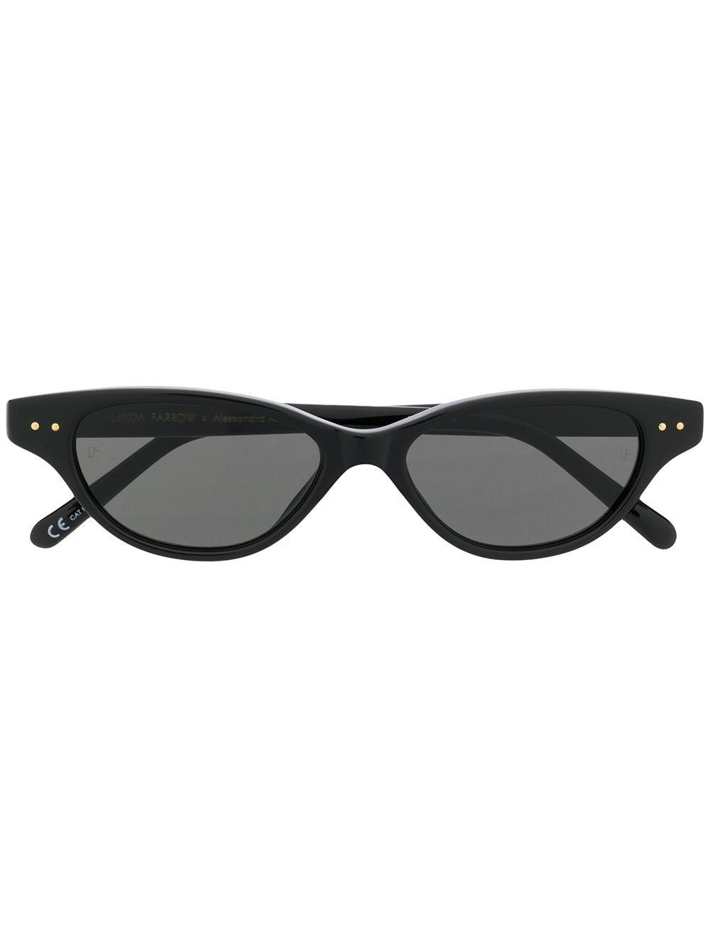 Linda Farrow Sonnenbrille mit ovalem Gestell - Schwarz