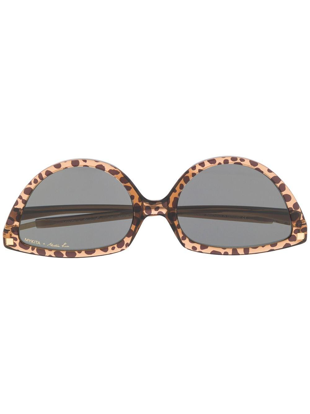 Martine Rose Cat-Eye-Sonnenbrille mit Leopardenmuster - Braun