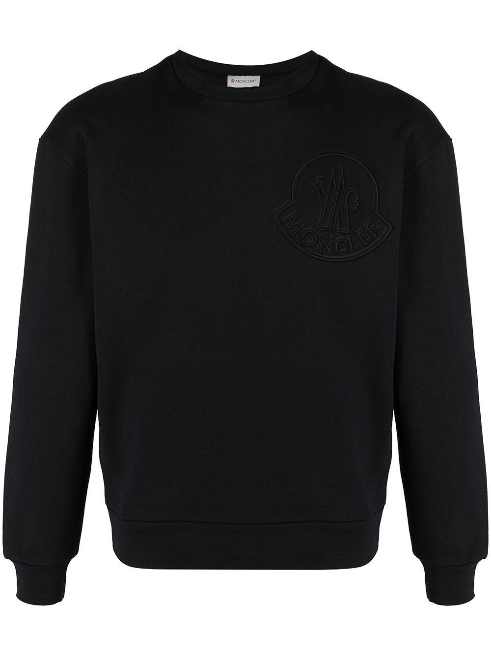 Moncler Sweatshirt mit aufgesticktem Logo - Schwarz