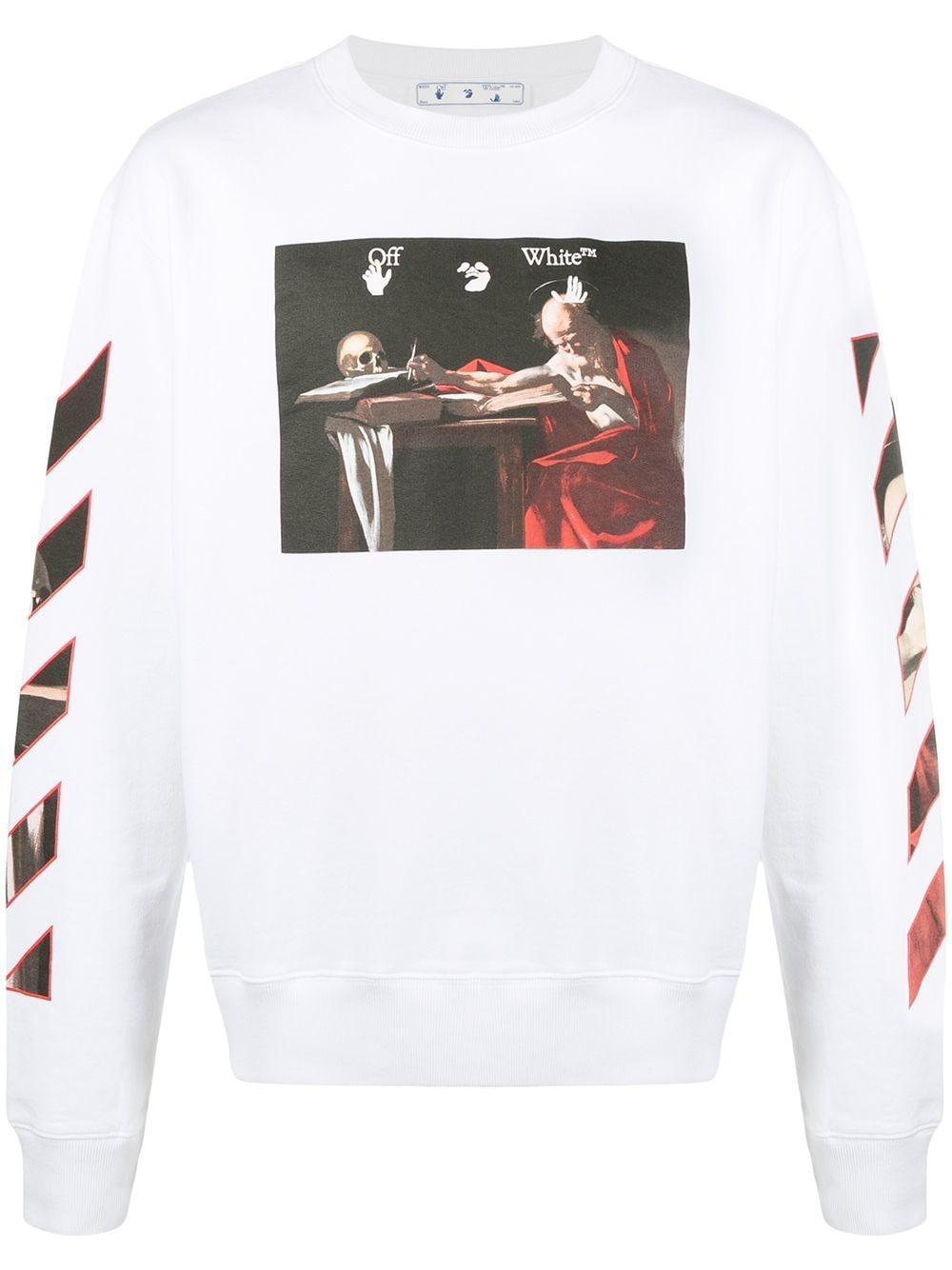 Off-White CARAVAGGIO SLIM CREWNECK WHITE RED - Weiß