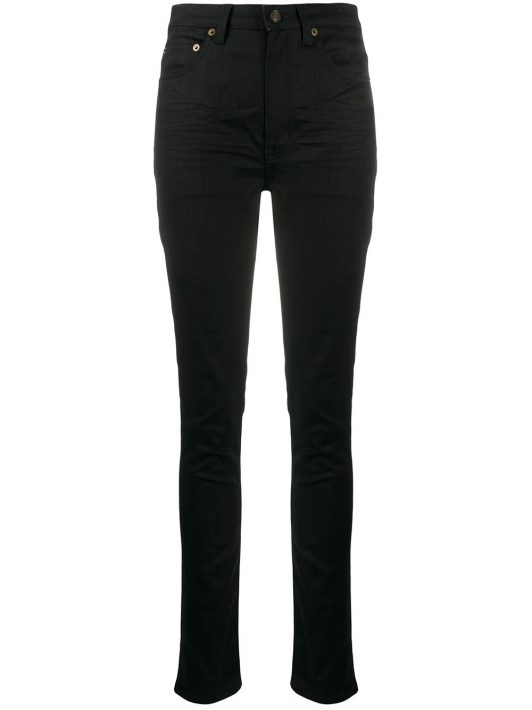 Saint Laurent Hoch sitzende Skinny-Jeans - Schwarz