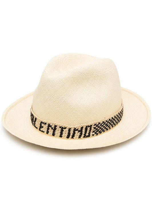 Valentino logo-band straw hat - Nude