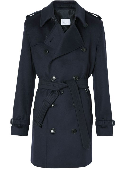 Burberry double-breasted belted coat - Blau