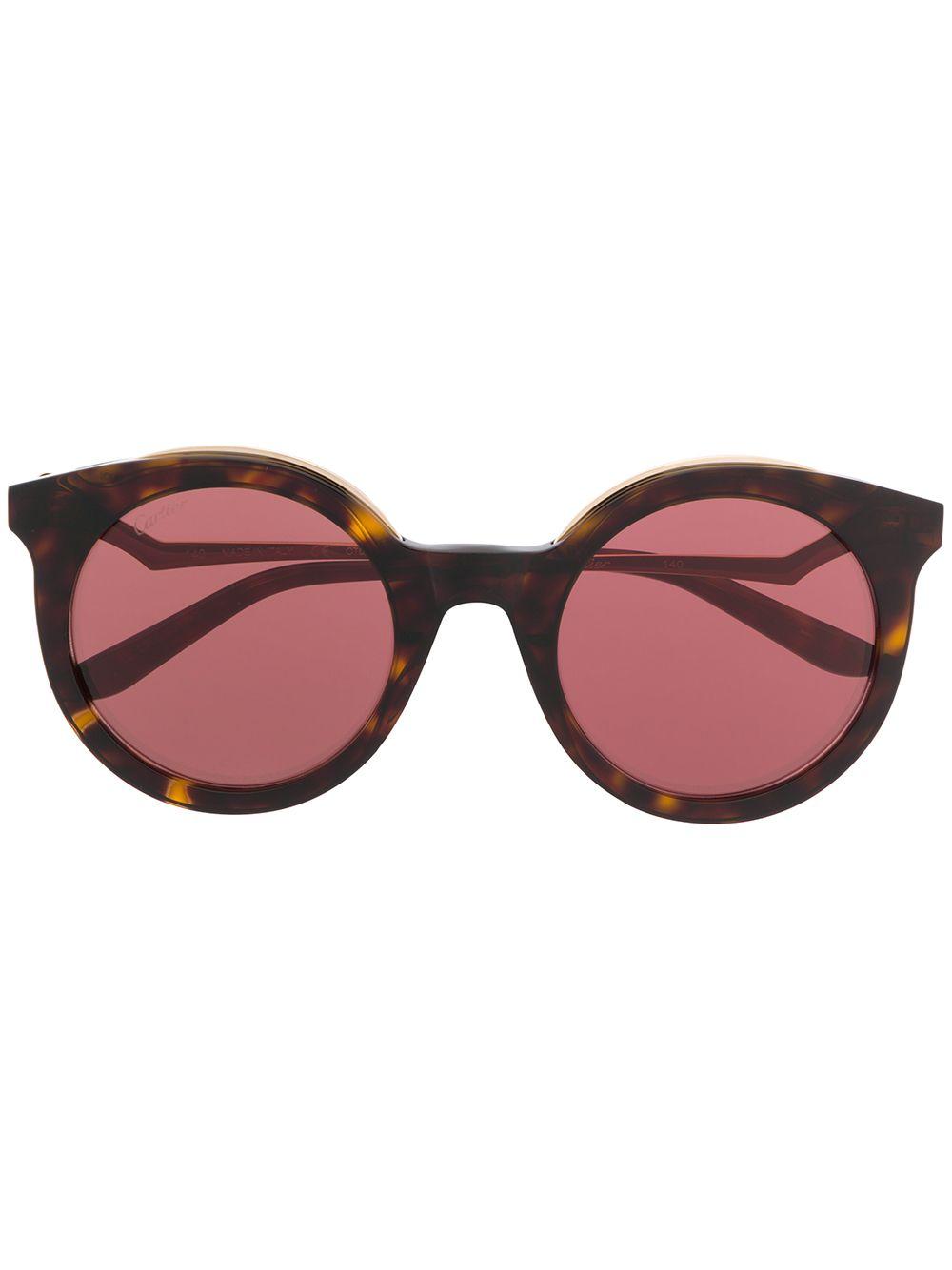 Cartier Eyewear Runde Sonnenbrille - Braun