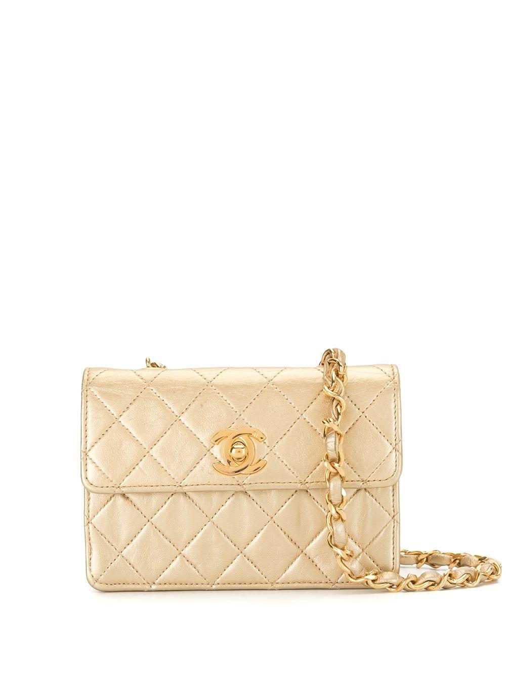 Chanel Pre-Owned 1990 Mini Umhängetasche mit Rauten-Steppung - Gold