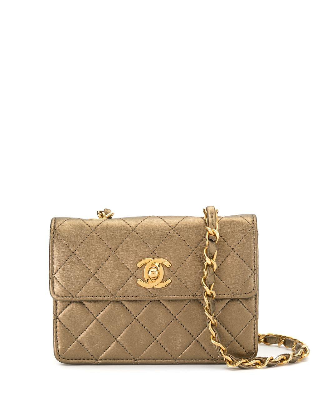 Chanel Pre-Owned 1990s Mini Umhängetasche mit Rauten-Steppung - Gold