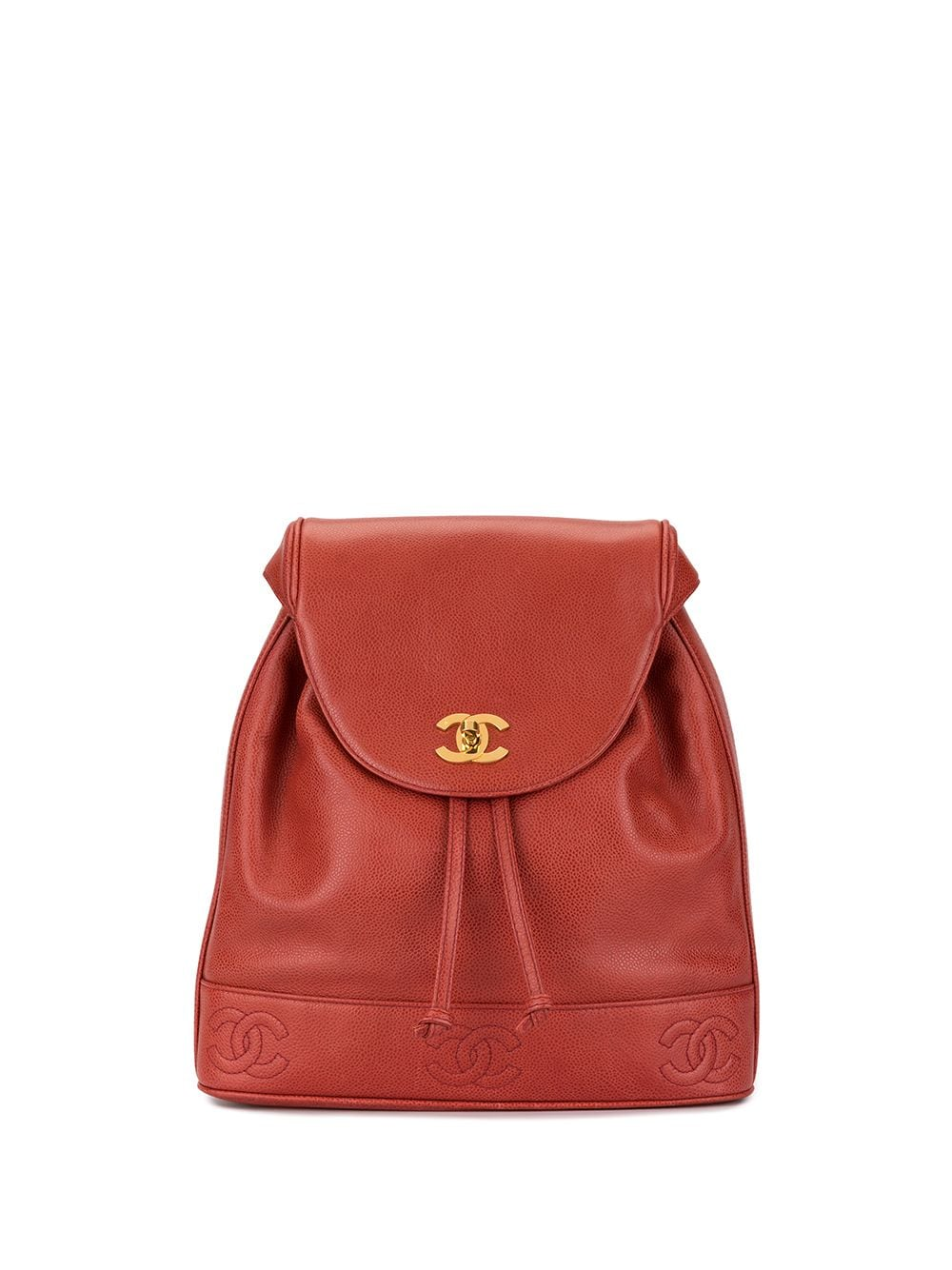 Chanel Pre-Owned Rucksack mit CC-Logo - Rot