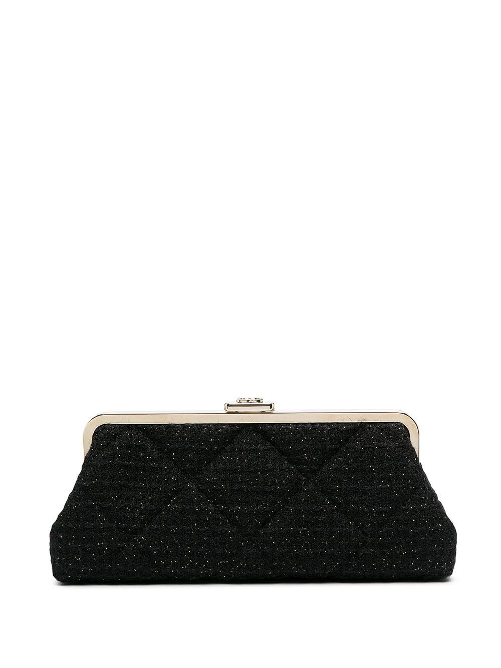 Chanel Pre-Owned Tweed-Clutch in Metallic-Optik - Schwarz