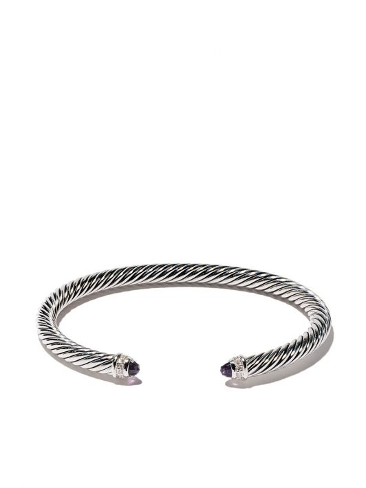 David Yurman 'Cable' Armspange aus Sterlingsilber mit Diamanten - SSAAMDI
