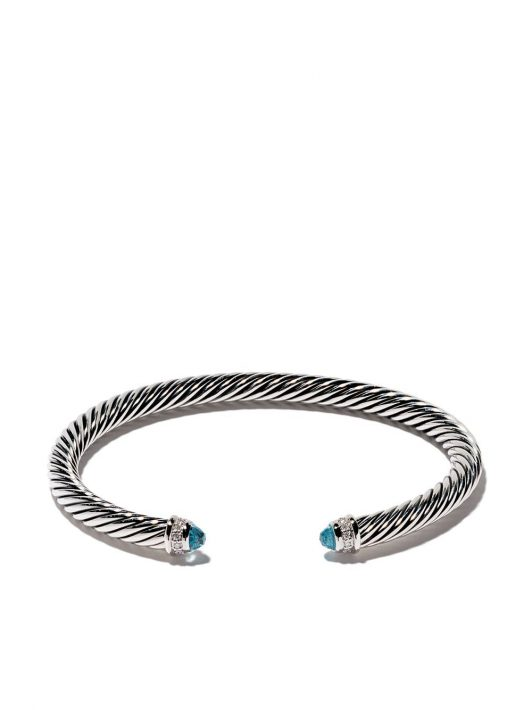 David Yurman Cable' Armspange aus Sterlingsilber mit Diamanten - SSABTDI