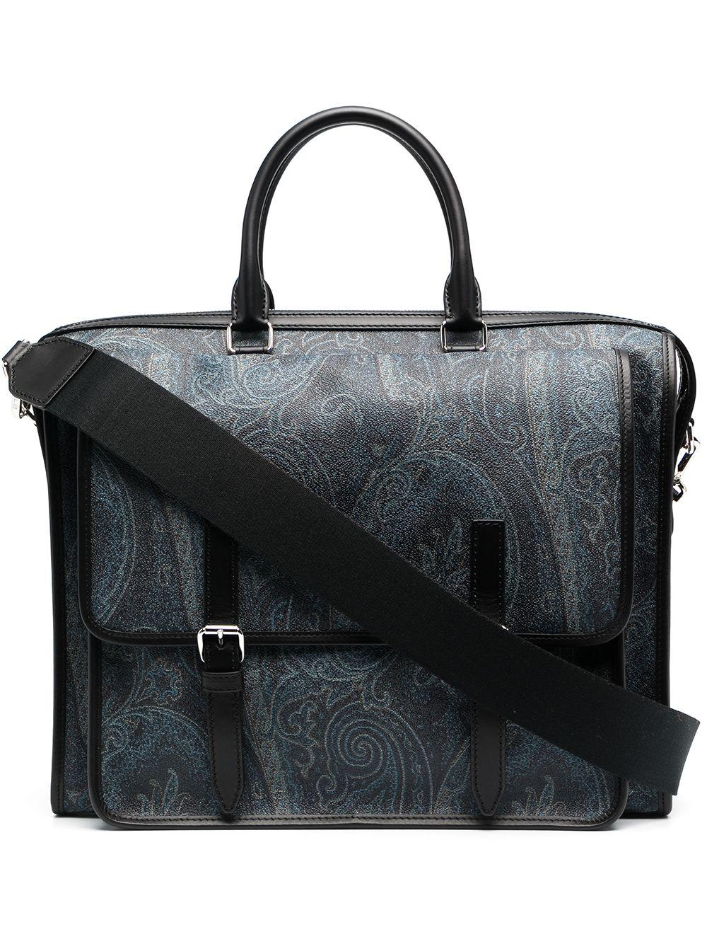 Etro Laptoptasche mit Paisley-Print - Blau