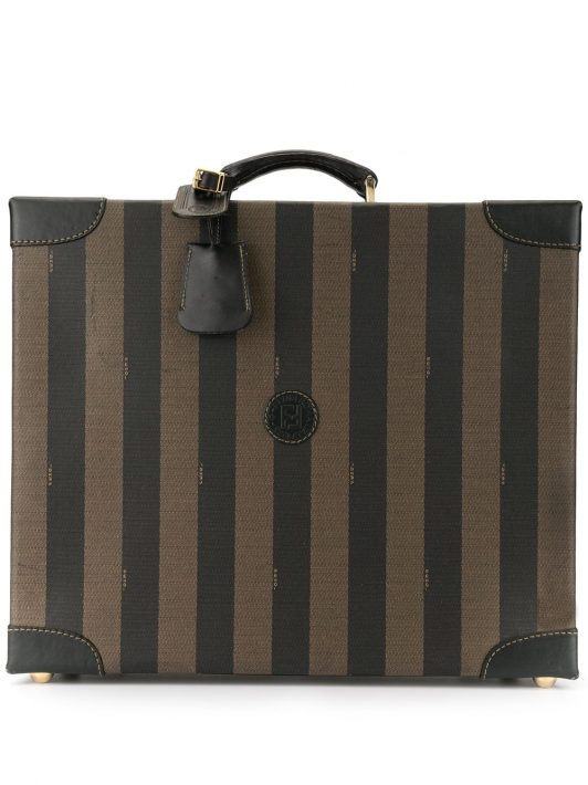 Fendi Pre-Owned Koffer mit Pequin-Streifen - Braun