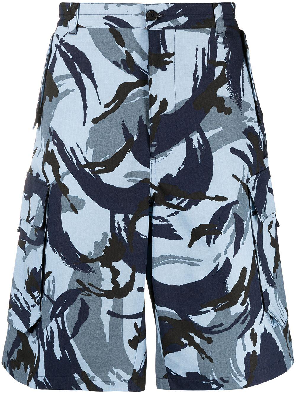 Kenzo Cargo-Shorts mit Tropic Camo-Print - Blau