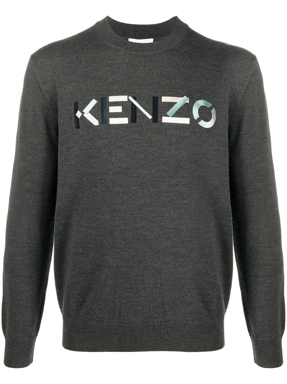 Kenzo Pullover mit aufgesticktem Logo - Grau