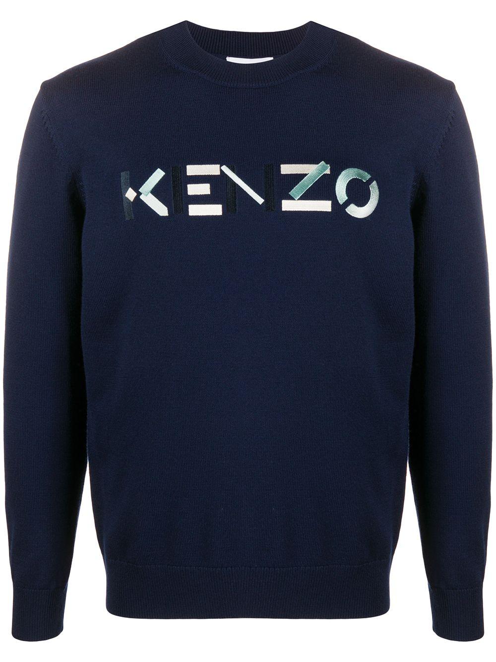 Kenzo Sweatshirt mit Logo-Stickerei - Blau
