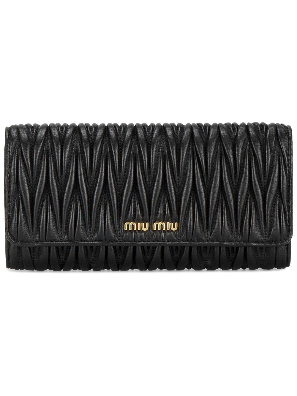 Miu Miu Portemonnaie aus Leder - Schwarz