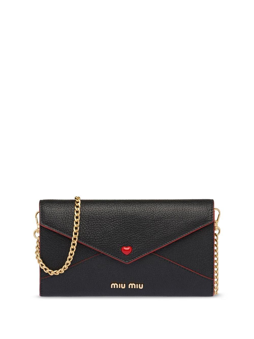 Miu Miu Portemonnaie in Kuvertform - Schwarz
