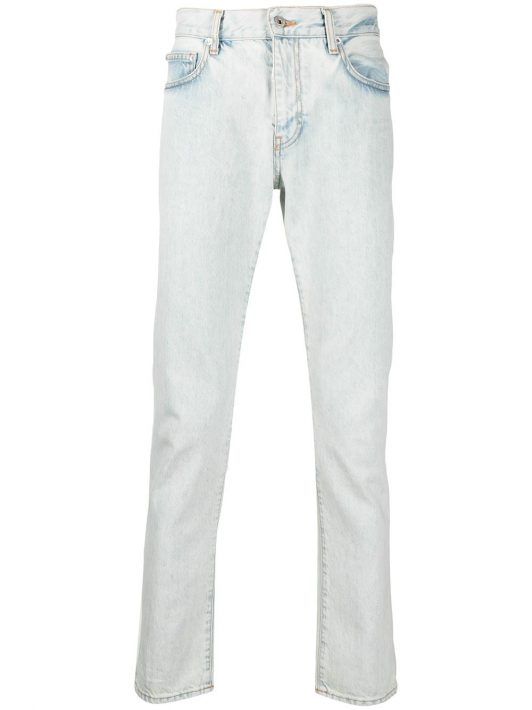 Off-White Diag-print slim-cut jeans - Blau