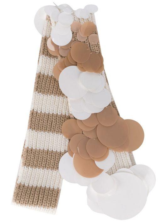 Prada Gestreifter Schal mit Pailletten - Nude
