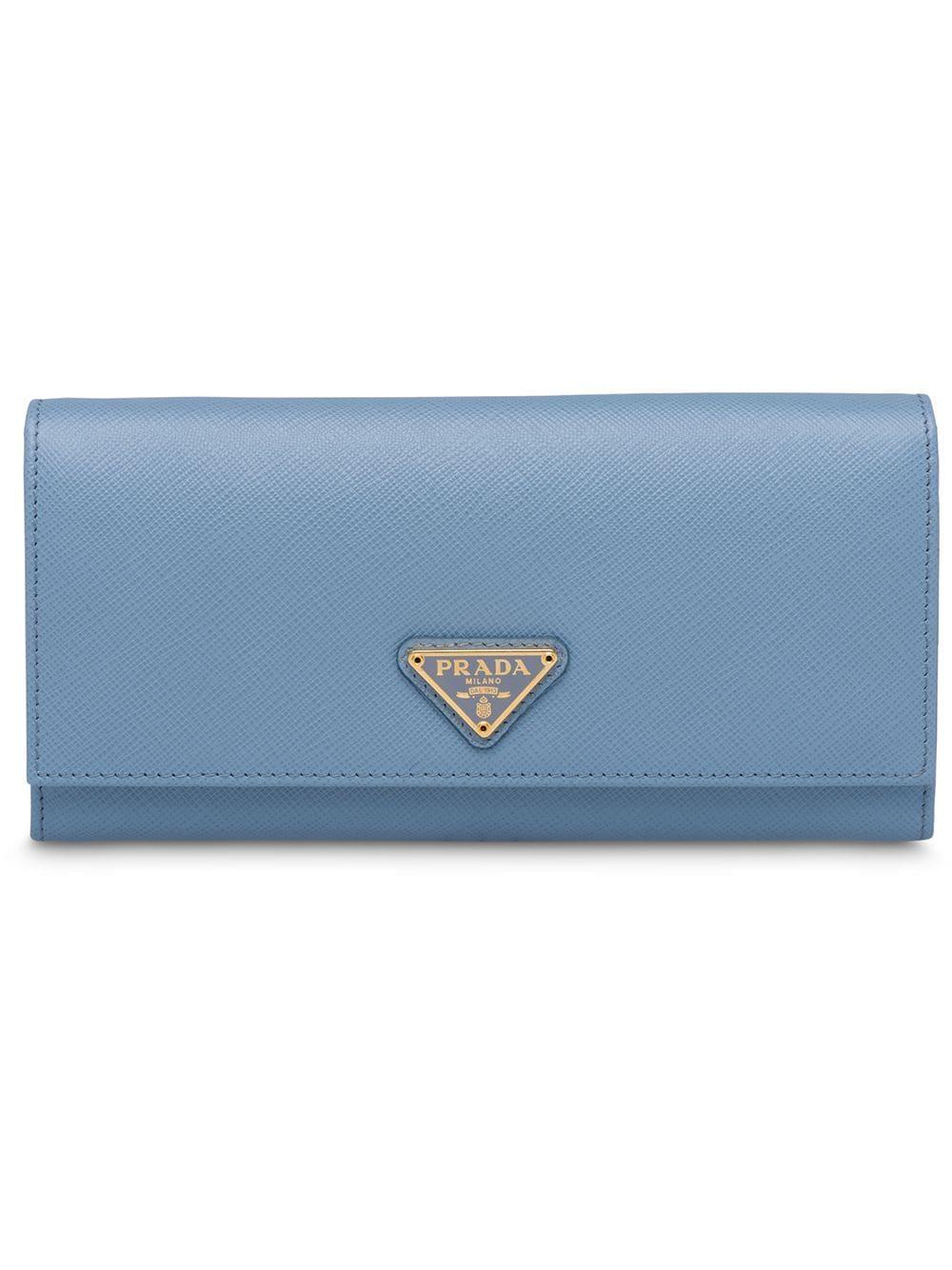 Prada Portemonnaie mit Logo-Schild - Blau