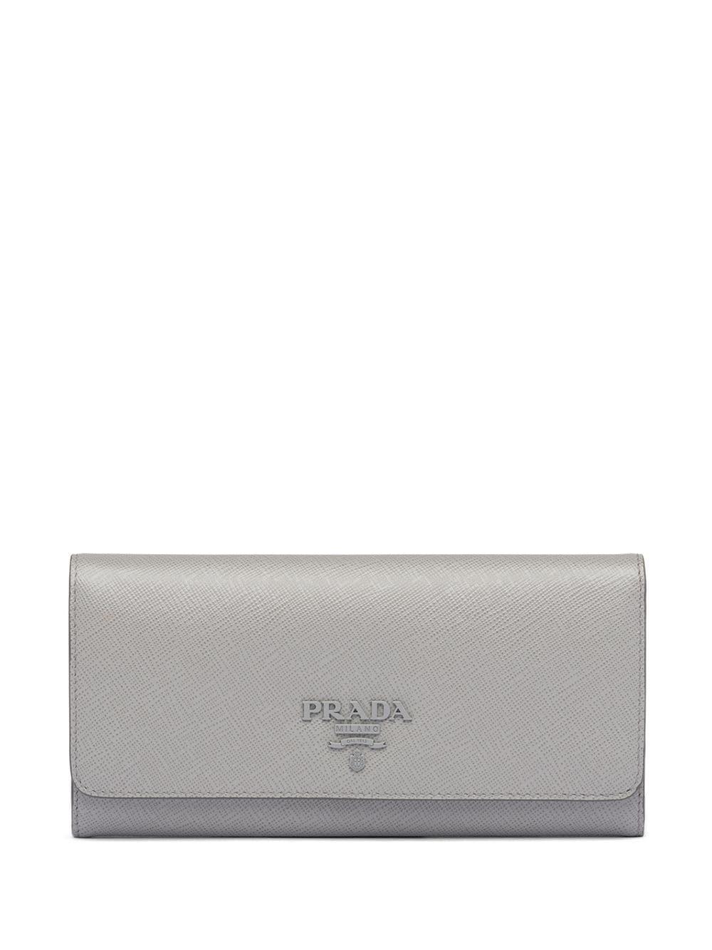 Prada Portemonnaie mit Logo-Schild - Grau