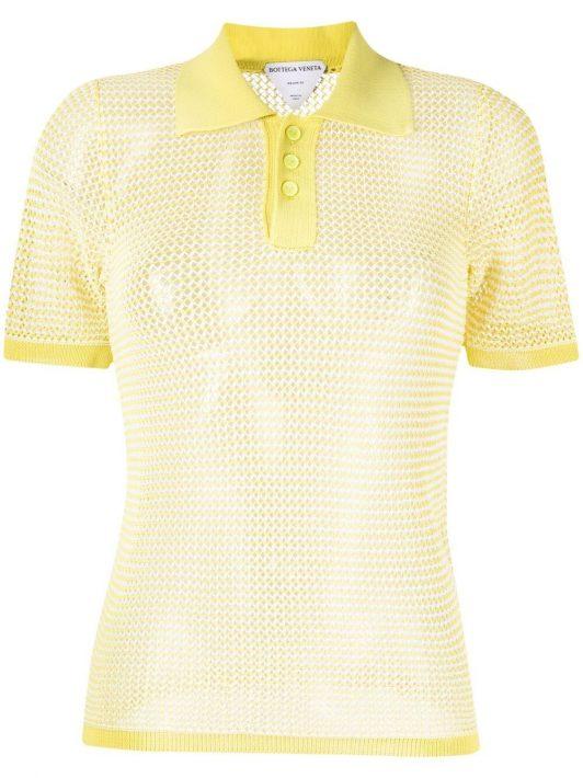 Bottega Veneta pointelle-knit polo shirt - 2951 STRING SEAGRASS