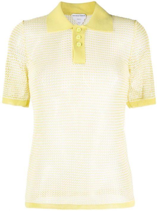 Bottega Veneta pointelle-knit polo shirt - Gelb