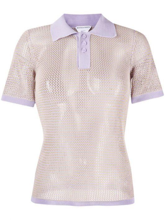 Bottega Veneta pointelle-knit polo top - Violett