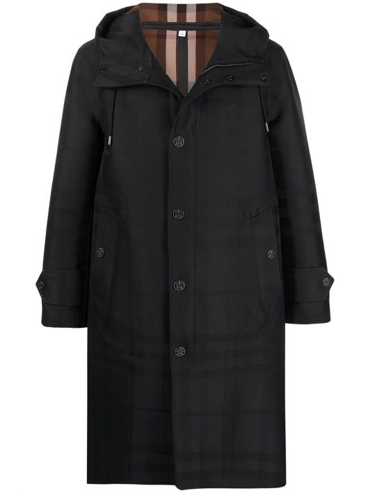 Burberry Globe graphic detail check technical coat - Schwarz