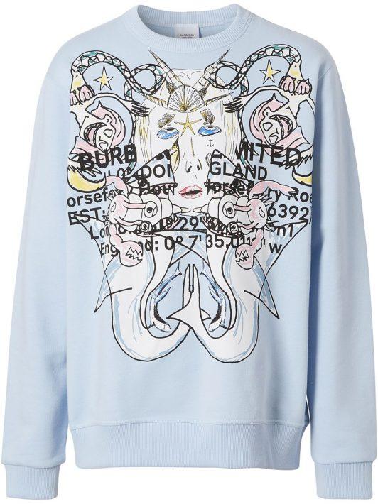 Burberry montage-print cotton sweatshirt - Blau
