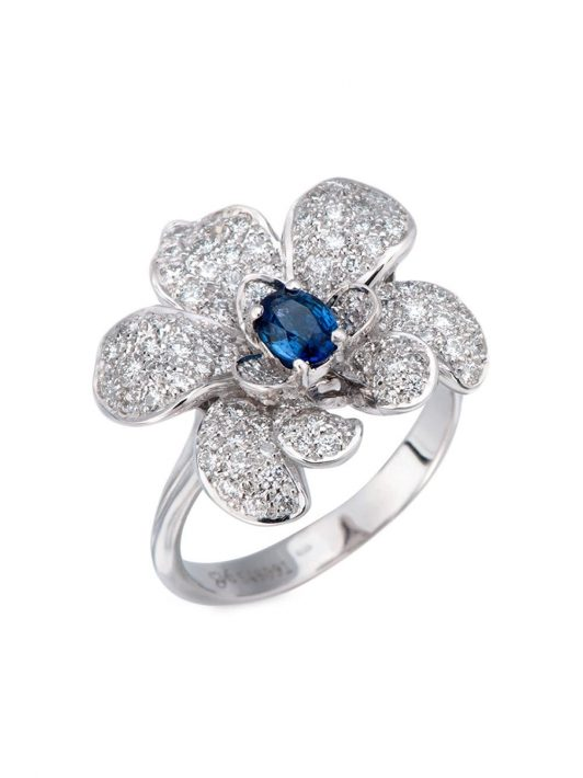 Carrera Y Carrera 18kt white gold flower diamond and blue sapphire ring - Silber