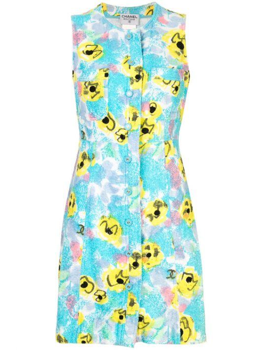 Chanel Pre-Owned Kleid mit Blumen-Print - Blau