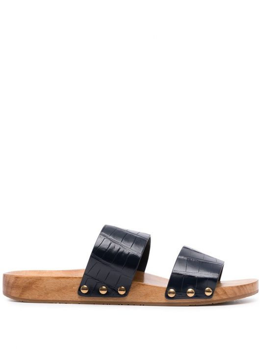 Dolce & Gabbana crocodile-effect double-strap sandals - Blau