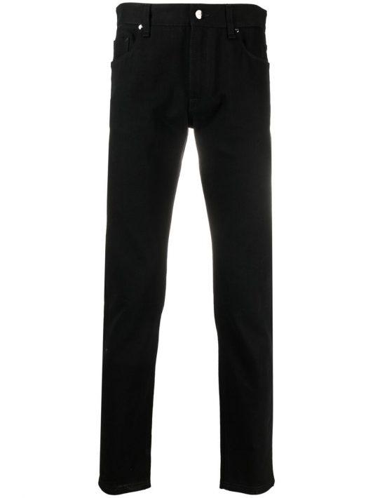 Fendi Schmale Jeans mit Logo-Patch - Schwarz