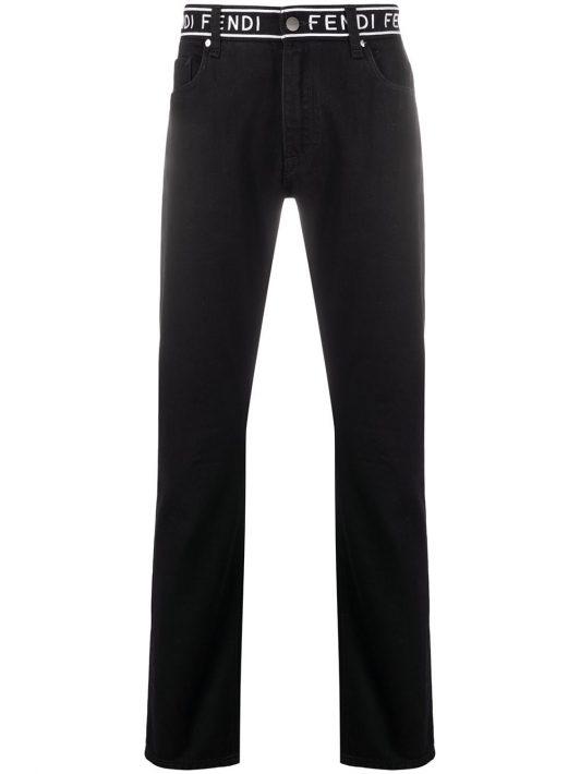 Fendi Schmale Jeans mit Stickerei - Schwarz