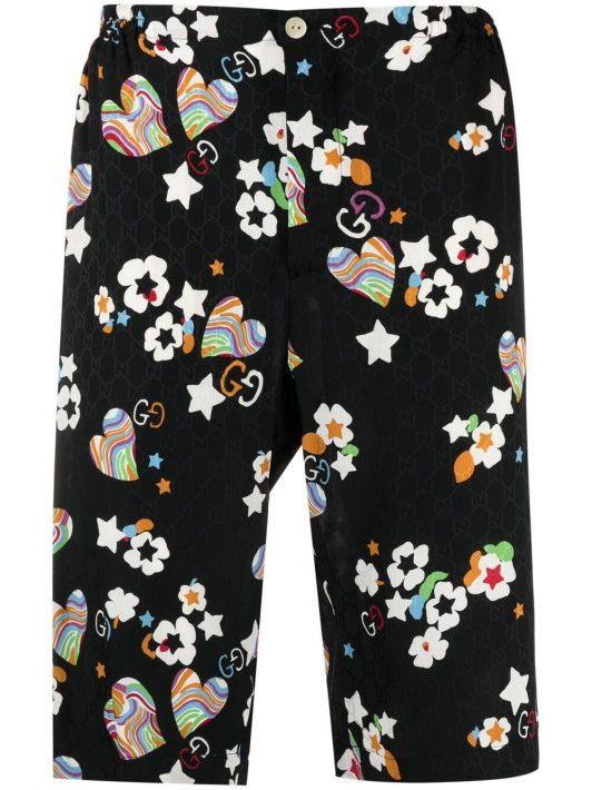 Gucci Knielange Shorts mit Monogramm-Print - Schwarz