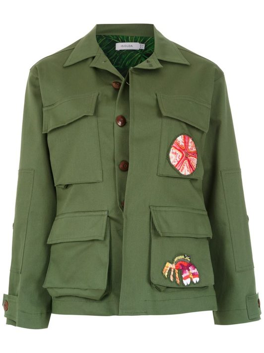 Isolda Military-Jacke mit Patches - Grün