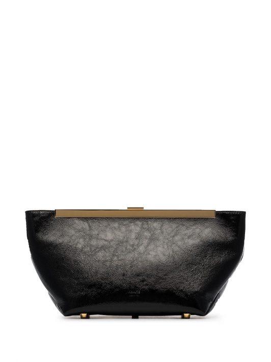 Khaite Aimee patent clutch bag - Schwarz