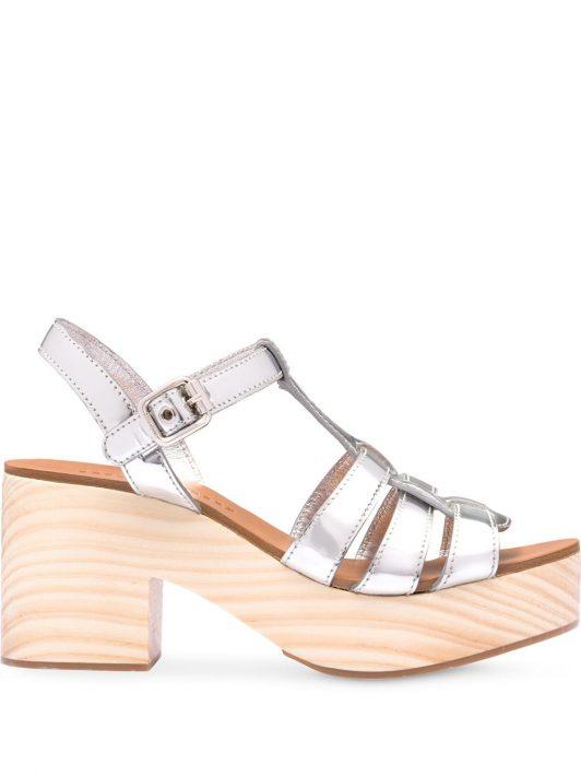 Miu Miu Sandalen im Holz-Look - Silber