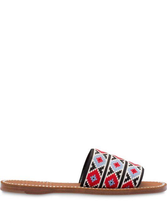 Miu Miu Sandalen mit Kristallen - Rot