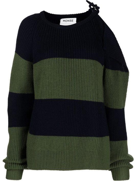 Monse striped buckle-shoulder jumper - Blau