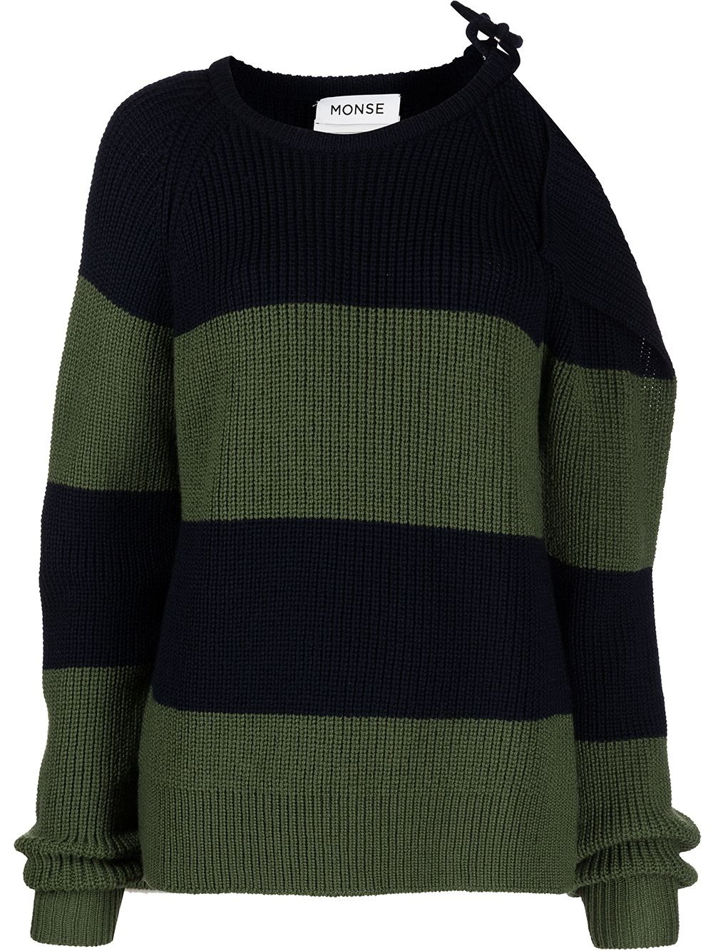 Monse striped buckle-shoulder jumper - Blau