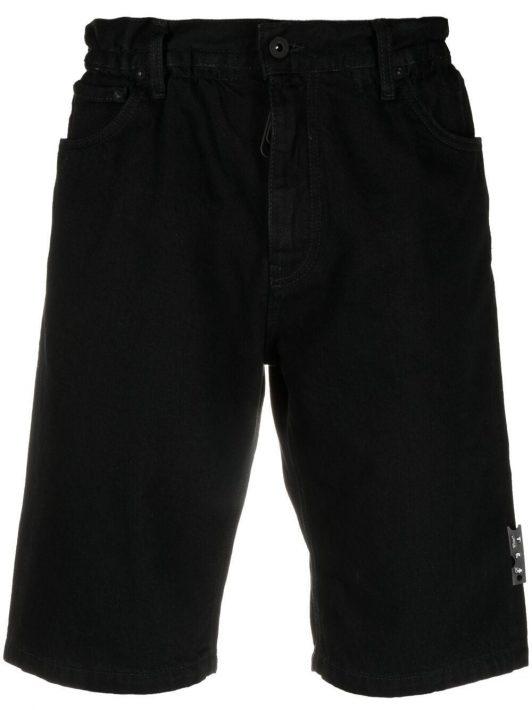 Off-White Jeans-Shorts mit Logo-Gürtel - Schwarz