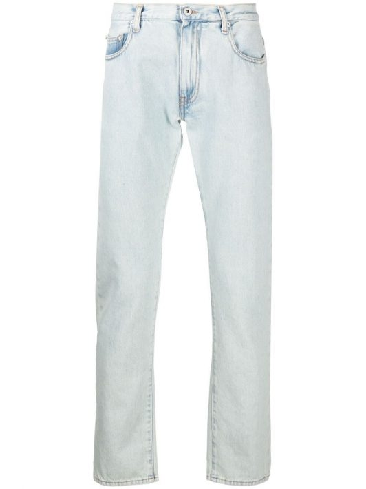 Off-White diagonal stripe slim-fit jeans - Blau