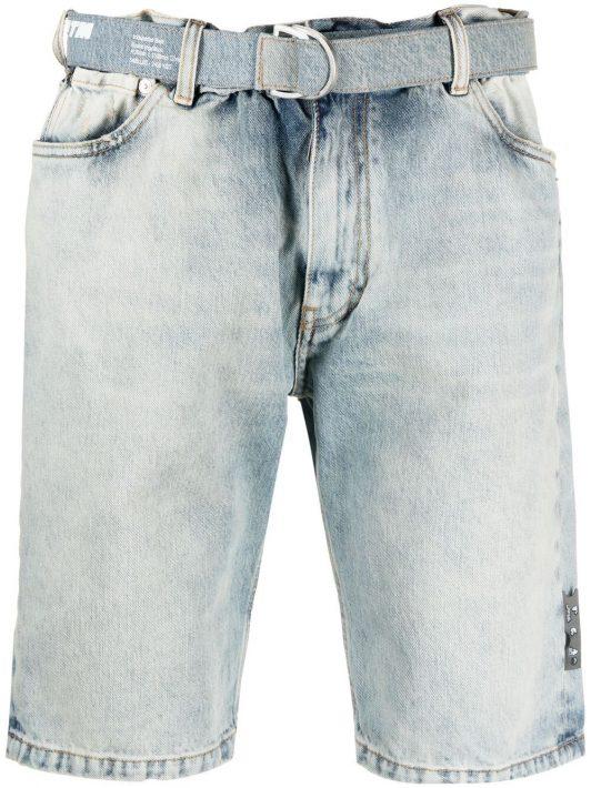 Off-White knee-length denim shorts - Blau