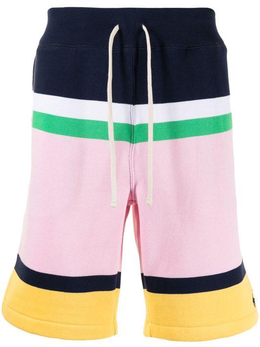 Polo Ralph Lauren Joggingshorts in Colour-Block-Optik - Rosa