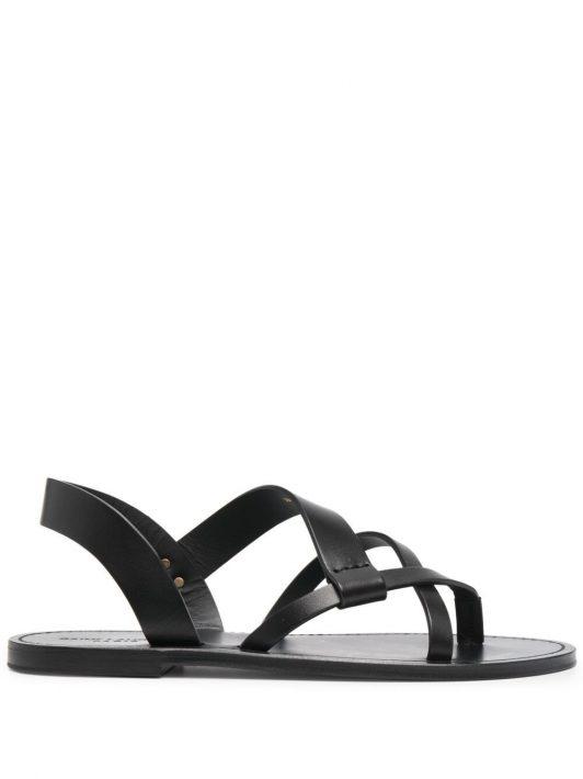 Saint Laurent Matt flat leather sandals - Schwarz