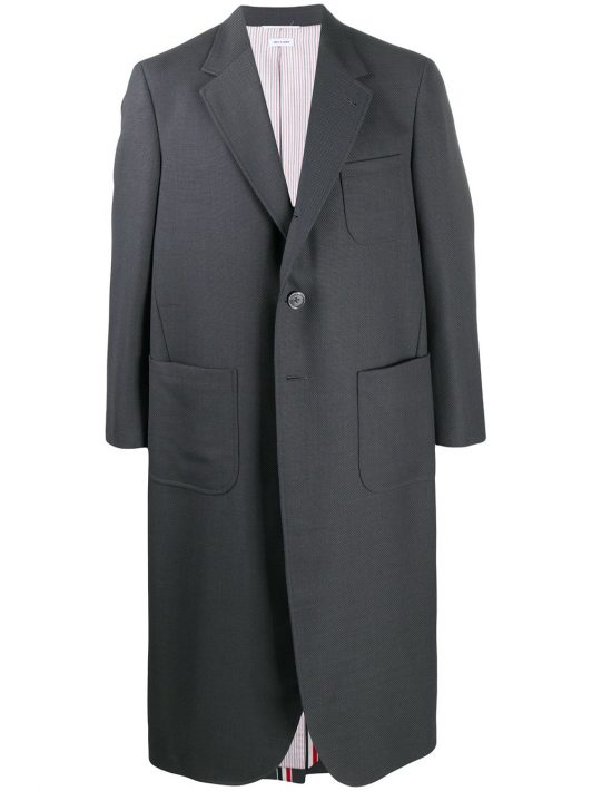 Thom Browne Oversized-Mantel mit breitem Revers - 025 DARK GREY